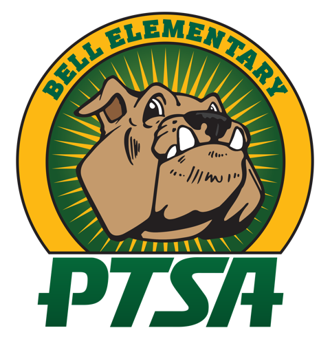 Bell Elementary PTSA logo with bulldog's face on green and gold background